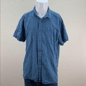 Mens Patagonia Blue Short Sleeve Button Up Shirt